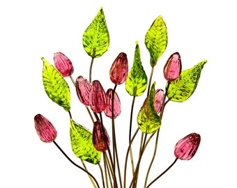 SUPPLY: 14 Colorful Flower and Leaf Headpin - Glass Headpins - Pink Tulip - Millinery - Flower Beads - Tulips - SKU 20-D3-00007295-OS-no