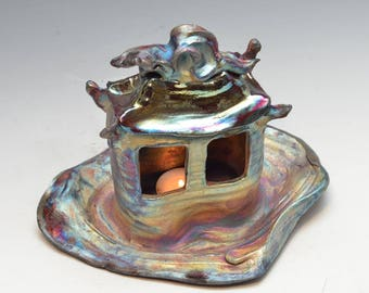 Tea Light Holder Lantern House or Hermitage in Bright Blue and Copper Raku Ceramics