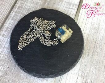 Pendent Blue & Beige-Handmade-resin/blue and beige flower pendant-hand made-resin