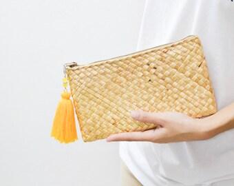 Free tassel keychain • straw clutch • Straw purse • Seagrass purse  • Handmade bag • Straw bag • #02