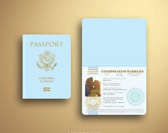 BAILEY Elegant Damask Passport and Boarding Pass Destination Wedding invitation Suite, Custom Booklet Invite, Airline Ticket, Plane Ticket