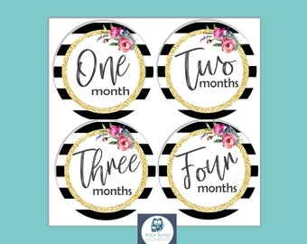 Printable Milestone Stickers, Digital, PDF, Baby Month Stickers, Growth Stickers, Black and white, Monochrome, UnisexBaby Shower Gift