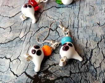 Ghost earrings, Halloween earrings, glass bead earrings, handmade earrings, lamp glass