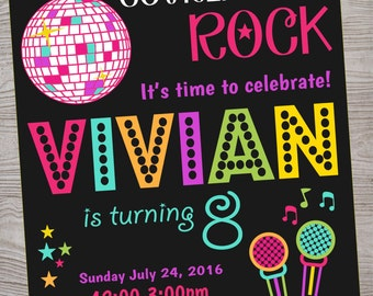 Karaoke Disco Dance Birthday Party Invitation printable digital file