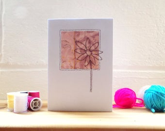 Pink Flower Card, Stitched Greetings card Blank Card, Note Card