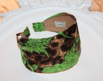 Satin Women's Headband Brown Leopard print Scarf with Green plants Boho Head Wrap wide everyday adult headband turban short hair accessory