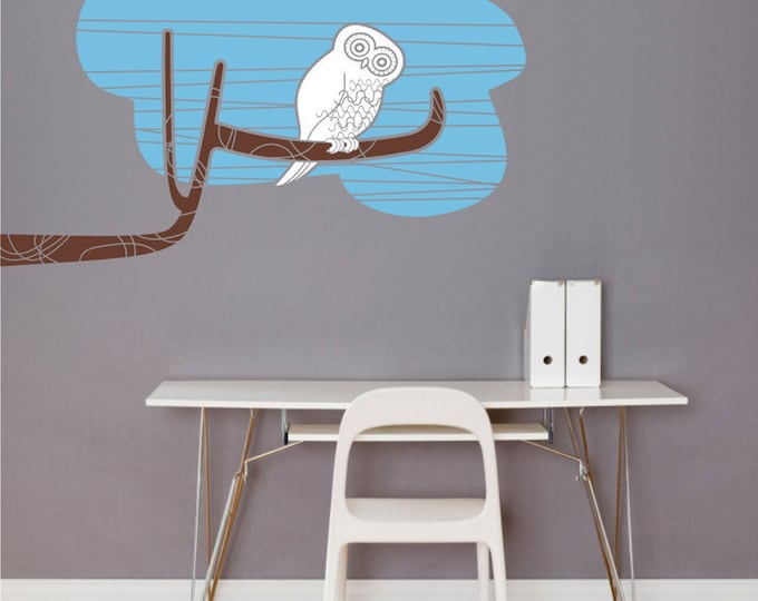 owl wall decal, owl tree branch sticker, mid century modern owl sticker art, FREE SHIPPING