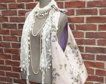 FRANCINE Large French Market Bag Purple Violets Blush Rhinestone Button Vintage Style Tote Shoulder Bag Fabric Messenger Slouchy Diaper Bag