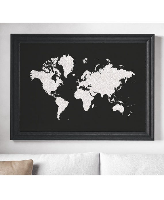 World map poster black white large world map affiche gumiabroncs Choice Image