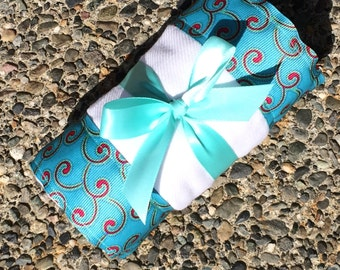 Burp Cloth / Changing Pad: Red Swirls and Paisley on Teal Aqua, Personalization Available
