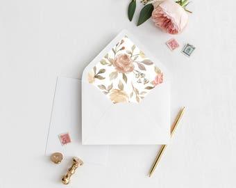 Watercolor Floral Envelope Liner | Printable Envelope Liner | Wedding Envelope Liner | A7 & A6 Envelope Liners | Autumnal Envelope Liners