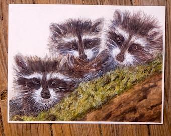 Woodland Raccoons original watercolor painting by artist Joy Neasley