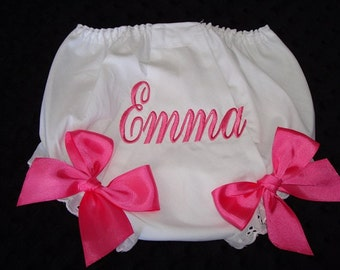 Emma Personalized Diaper Cover, Personalized Bloomer - Sizes Nb through 4