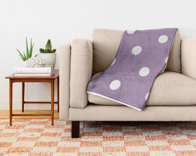 Purple Polka Dot Fleece Throw Blanket - Bedding - Throw Blanket - Soft Fleece Blanket - Made to Order