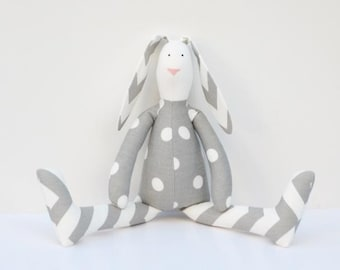 Stuffed bunny rabbit hare plush bunny white gray polka dots chevron cute softie stuffed toy baby shower birthday gift for boy girl