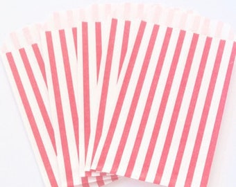 Paper gift pouches, pockets 12cm x 7cm, bags white fuchsia, set of 10 gift, gift wrapping, striped, clutch bag