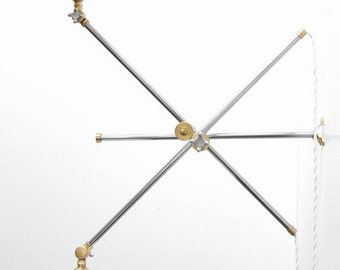 "Vintage Style Adjustable Wall Mount Extension Double Boom Light Lamp - Modern Articulating Brass Up Down Sconce w/ Flat Shade - ""Rameses"""