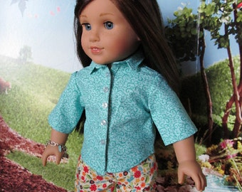 18 inch Doll Clothes - Aqua Button Up Shirt and Red Floral Capris
