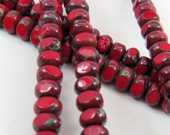 Apple Red Dark Travertine Picasso Glaze 3-Cut Opaque 4x7mm Rondelle Premium Czech Glass Strand of 37 Beads PSC3CT47001
