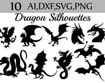 "SVG Dragon silhouette clip art: ""SILHOUETTE CLIPART"" Dragon cut files,Tattoo scrapbook,Dxf files,Vector files,Mythology clipart,Dragon Dxf"