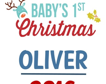 Baby's First Christmas Personalised Word Art Print, A4, gift, personalised, Unique BOY