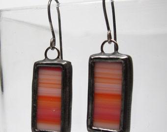 Desert Sunset - Sterling Silver Stained Glass Earrings