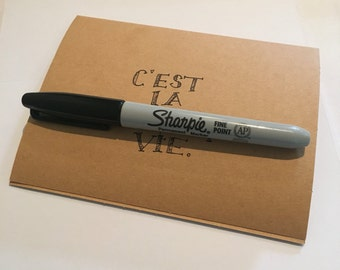 "Card stock hand-lettered greeting card: ""c'est la ****ing vie"""