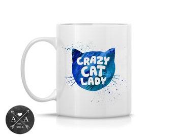 Coffee Mug, Ceramic Mug, Crazy Cat Lady, Mug, Coffe Mug  Unique Coffee Mug, 11oz or 15oz Watercolor Art Print Mug Gift, Two-Sided Print