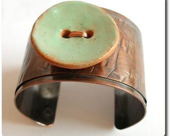 Copper Cuff Bracelet with Ceramic Button