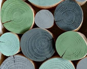 TROPICS Colour Mix Decorative Logs - display - logs - log stack - fireplace - interior - green - grey - decorative - stacking - trend