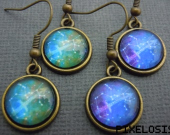 Sagittarius Zodiac Earrings, Sagittarius Constellation Earrings, Zodiac Symbol, Astrology Jewelry, November December Birthday Star Sign