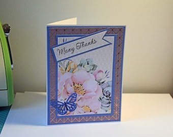 Handmade Greeting Card - Many Thanks - Flowers and Butterfly