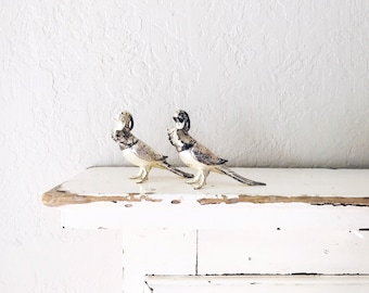 Vintage Bird S&P Shakers // Silver Figurine Pair