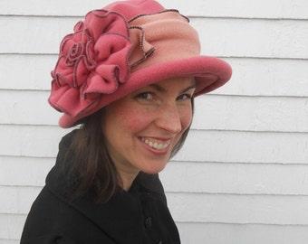 Fleece Ladies Hat - Edwardian Style - Suffragette - Titanic - Pink and Blossom - Margaret