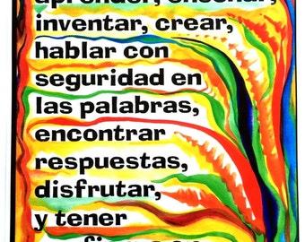 Los Ninos Pueden What CHILDREN Can Do 11x14 Espanol Spanish Classroom Decor School Motivation Inspiration Heartful Art by Raphaella Vaisseau