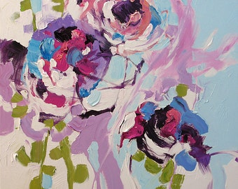 Acrylic Abstract Floral Painting Giclee Print Modern Art Made To Order Bold Violet Flowers Large Fine Art Print Wall Decor by Linda Monfort