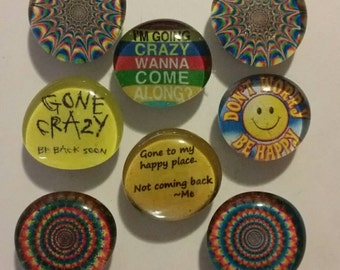 8 Mental Health, funny, strong  glass magnets,  refrigerator magnets, quality magnets, kitchen decor, crazy, happy, funny, humor, tye dye