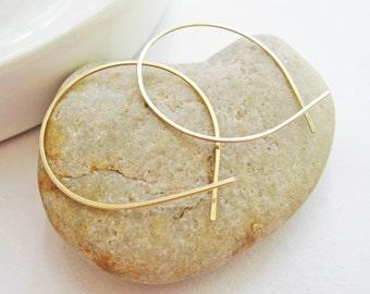 Large Open Hoops 14K Gold Filled, Hammered Gold Hoops, Loop Hoop Earrings, Minimalist Handmade Hoops, Hand Forged Earrings, Everyday Jewelry