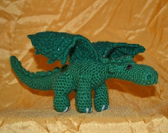 Dragon - Handmade Amigurumi Crochet Dragon, Green and Silver Metallic