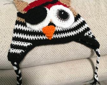 Crochet pirate owl hat