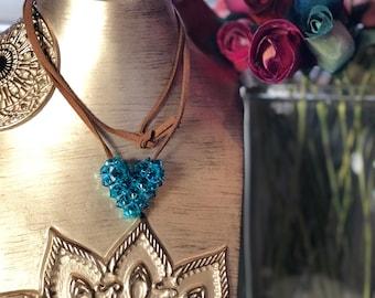 Swarovski Hand-Made Crystal Heart - Blue Zircon (Large)
