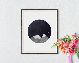 Mountains Print, Geometric Print, Abstract Landscape, Printable Wall Art, Mountains Art, Mountains Poster, Minimalist Art, Instant Download