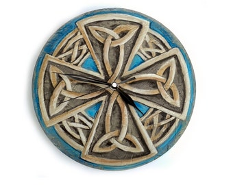 Original Painting CELTIC Eternal Knot Wall CLOCK Viking cross painting clock gifts for men