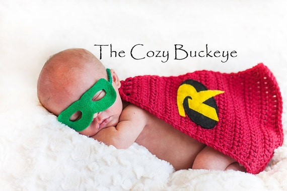Ready to ship newborn baby boy robin cape and mask crochet