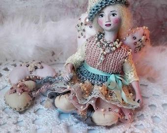 Valentines angel miniature doll, handmade art OOAK dolls, angel figurine, angel heart ornament, special gift for her, girl, woman - 3 inch
