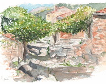 Original watercolour - Bardou Village - South of France