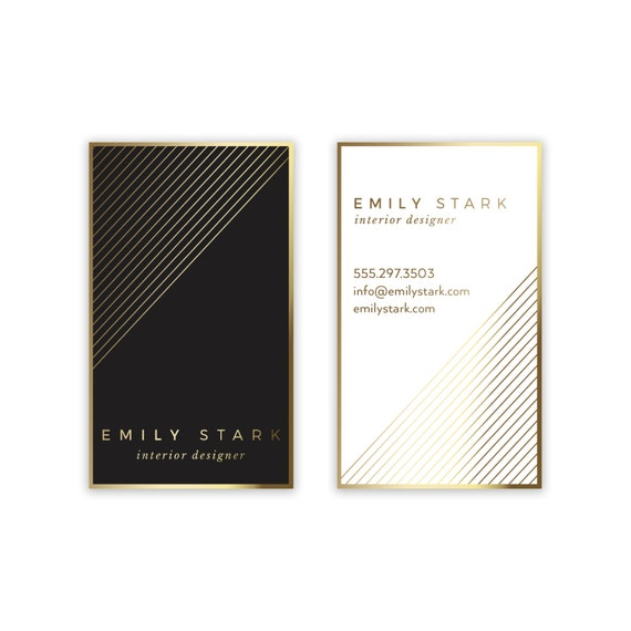 Gold black business card design chevron business card colourmoves