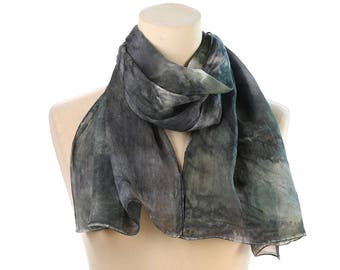 Green Gray SILK Scarf Sheer Vintage 1990s Tie Dye Neckerchief Dusty Gray Green Galaxy Printed Shawl Hand Rolled Edges Retro Muffle
