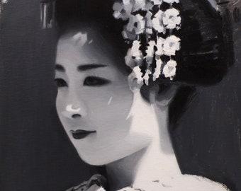 Ayaha - original oil painting on 33cmx 24cmcanvas board - japanese geisha art asian maiko artwork