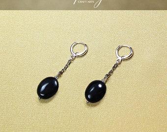 Gemstone Black Tourmaline earrings, White Gold filled loops, Protection earrings, EMF protection earrings,Energy cleansing,InfinityCraftArts